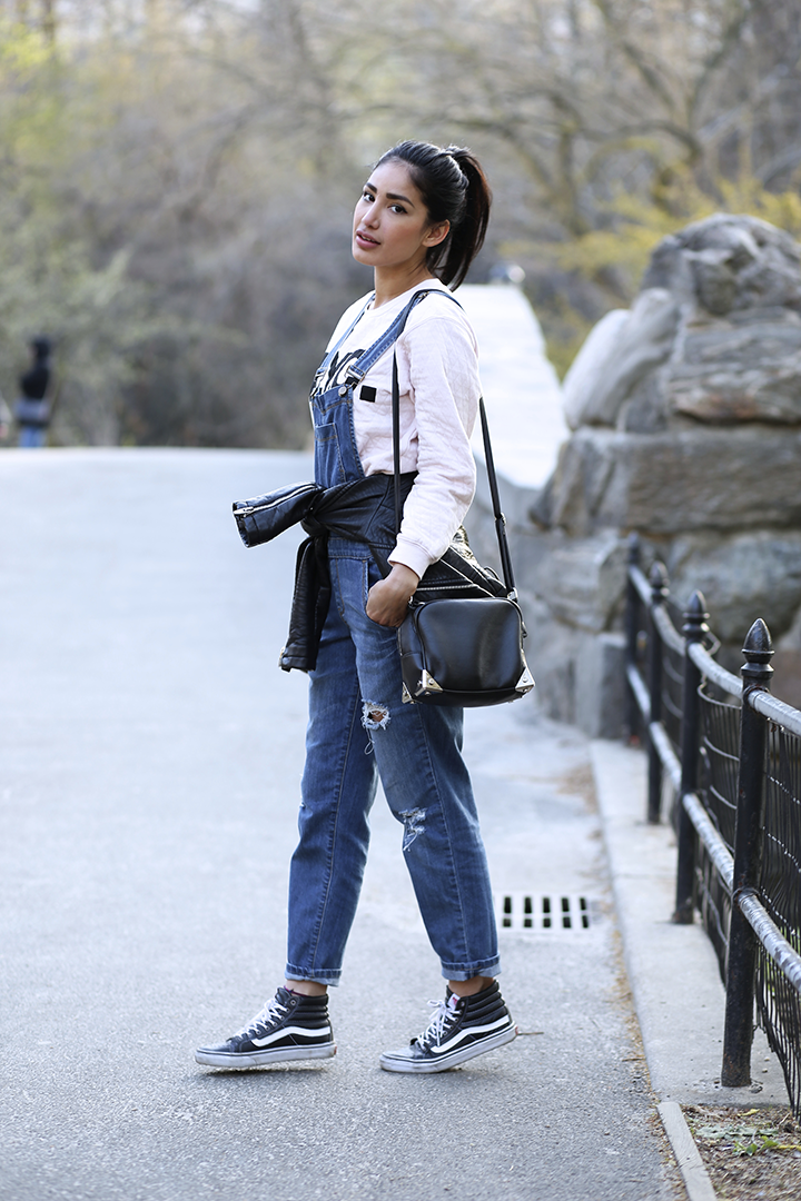 H&M sweater and bag,  Forever21 overalls, Vans sneakers, Zara jacket                                                                    Photos by Jeff Thibodeau