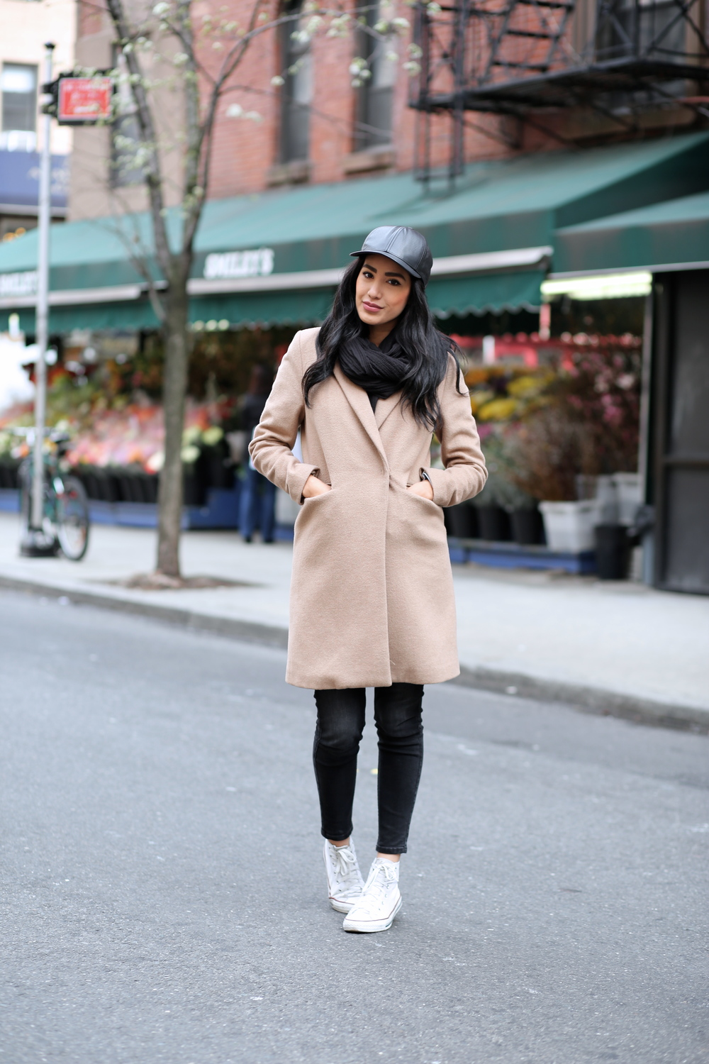 Oak NYC cap, H&M coat, Zara pants and scarf, Converse shoes                                                                                Photos by Jeff Thibodeau