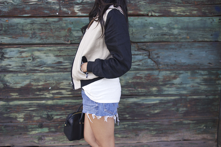 For Cynthia jacket, Alexander Wang tee, Levis shorts, Zara bag and sandals