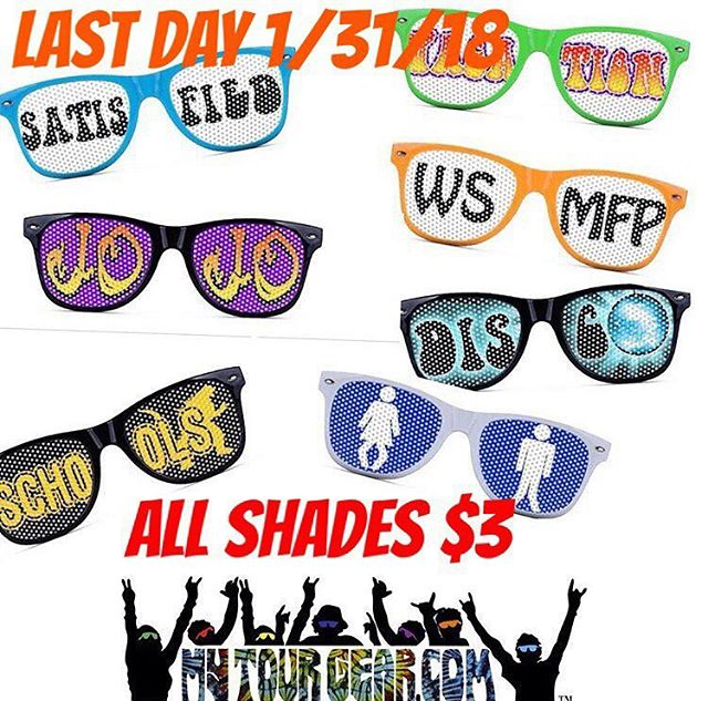 CLOSING SALE. My other business does not allow me the time to continue MyTourGear. Last day to order is 1/31/18. Shades are $3, shirts are $10. www.MyTourGear.com Thanks for the memories! #WidespreadPanic #wsmfp #panic #duane #duanetrain #sunny #schools #iloveJB #PanicTour #disco #JoJO #bowlegge #RedHot #aintlifegrand #Satisfied #Vacation #panicenlaplaya #PELP #PELP7