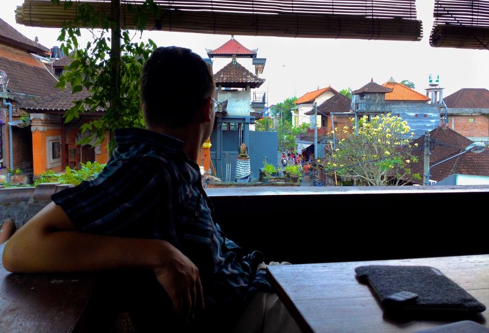 Jeremy takes a break at Tutmak Restaurant & Coffee House in Ubud, Bali, Indonesia.