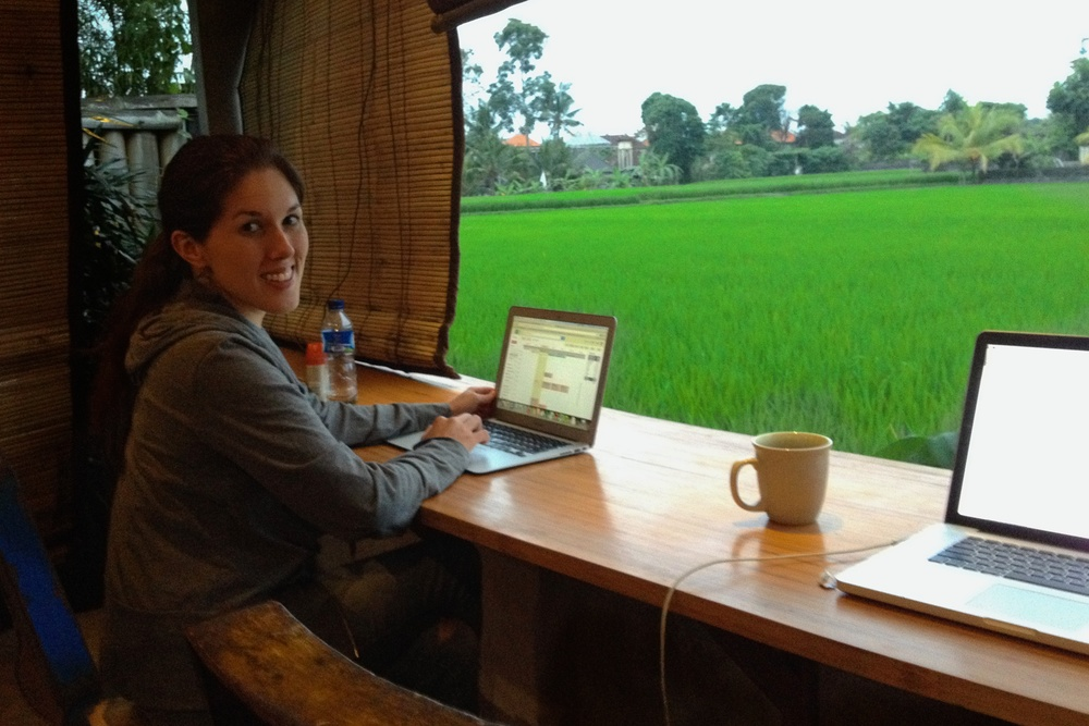 Sondra is happy to work with that view! At Hubud in Ubud, Bali, Indonesia.