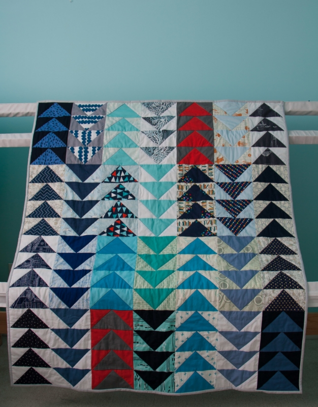 Hooray for Rain - Flying Geese Baby Quilt
