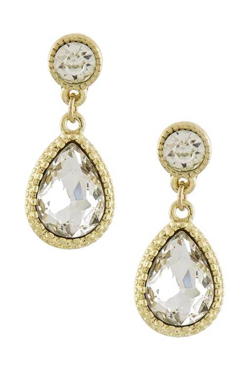 Clara Teardrop Crytal Earrings $20