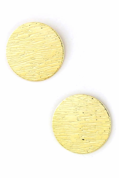Martine Etched Gold Disk Round Earrring $20