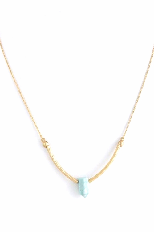Magali Turquiose Blue Stone Pendant Gold Necklace $25