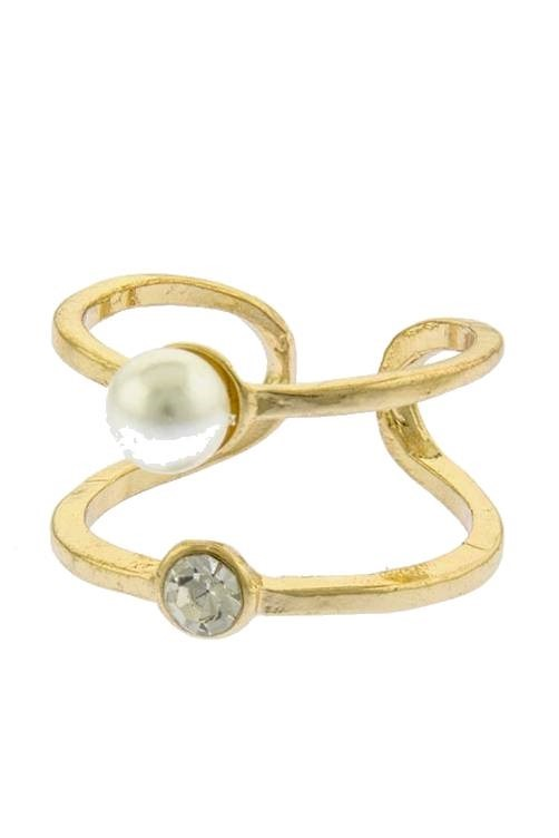 Selita Caged Ring Pearl Diamond Ring Gold $20