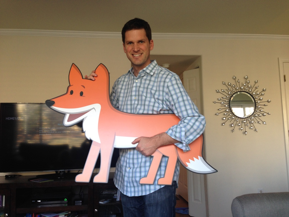This is the 3D printed fox. The work was donated by BSC Signs.