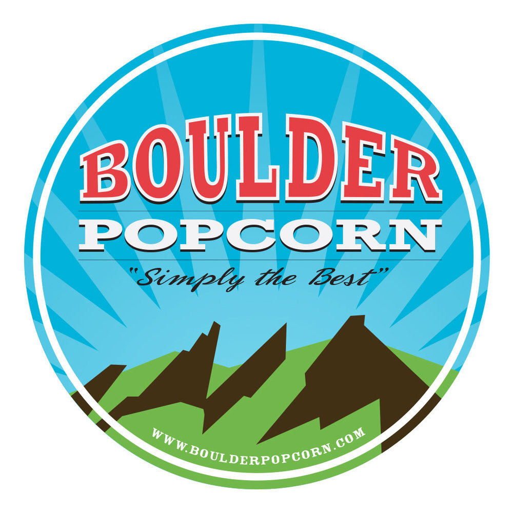The Boulder Popcorn logo features Boulder's signature Flatirons.