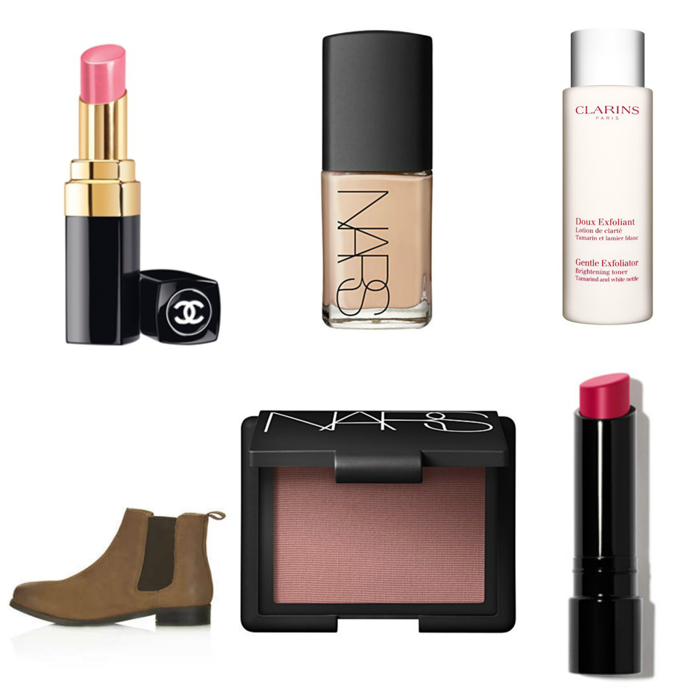 "Left to right:  Coco Rouge Shine in ""Boy""   Nars Sheer Glow Foundation ,  Clarins Exfoliating & Brightening Toner ,   Topshop Month Leather Chelsea Boots ,  Nars Blush in ""Douceure"" ,  Bobby Brown Sheer Lip Colour in ""Rosy"""