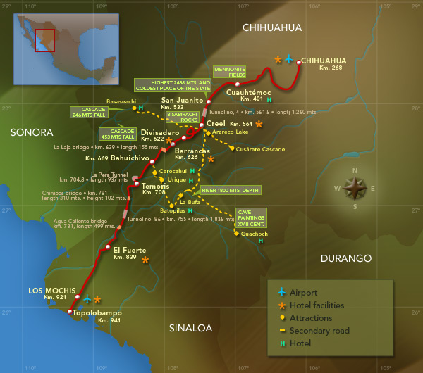 Chihuahua al Pacifico route map (courtesy of Ferromex)