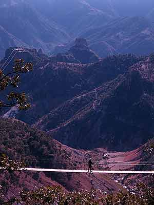 One of two swinging bridges overlooking the canyon