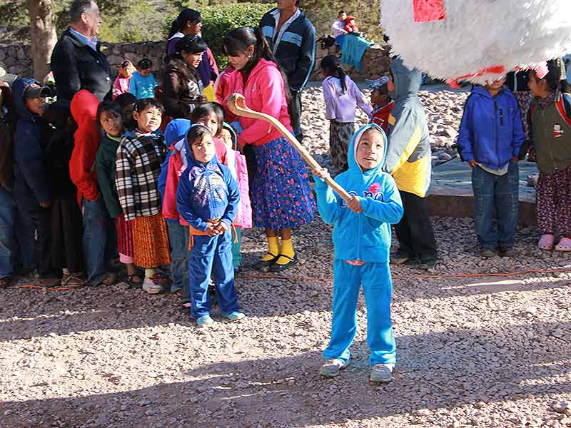 Raramuri Children anticipating hitting the Christmas Piñata at the Paraiso del Oso