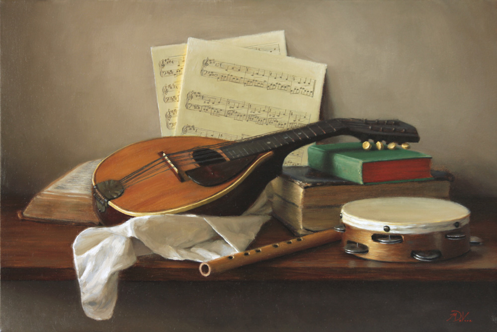 "Title: Attributes of Music Artist: Michael DeVore Medium: Oil on Linen Dimensions: 30"" x 20"""