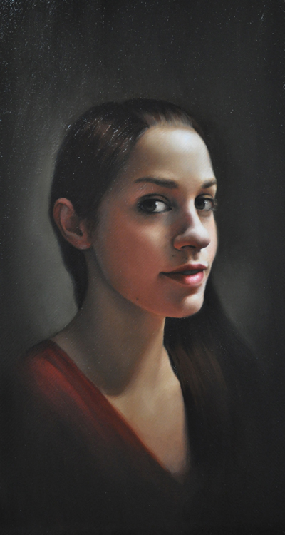 "Title: Self Portrait Artist: Frøydis Aarseth Medium: Oil on Linen Dimensions: 11"" x 20"""