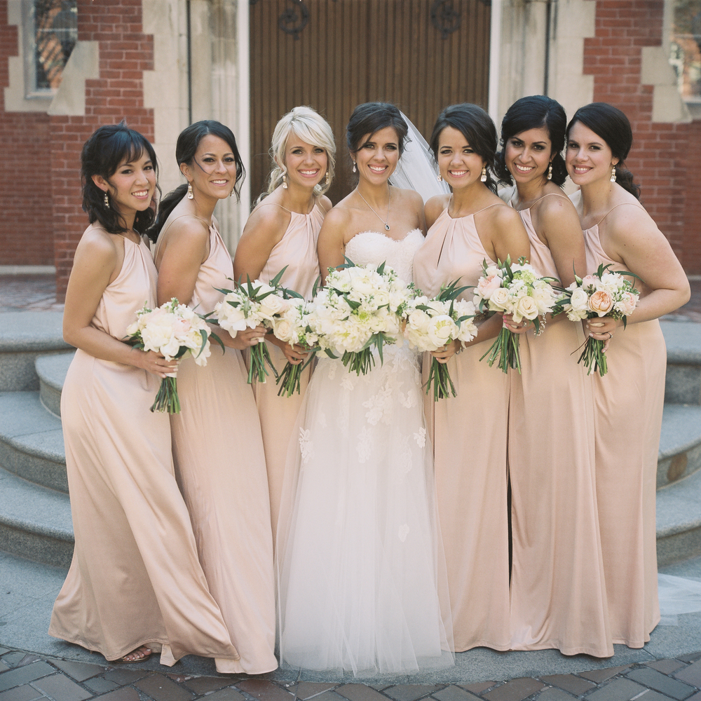 don't all her bridesmaids look gorgeous in their blush gowns?