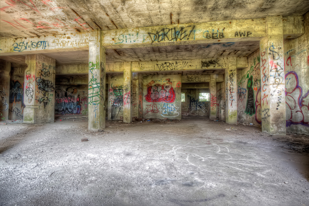 Graffiti inside one of the abandoned mill buildings