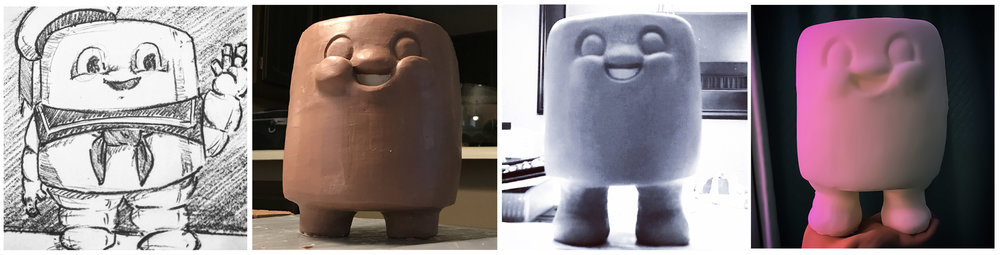 Above:   Sketch, initial sculpt, refined sculpt, first polyurethane foam pull (it's soft and squishy!)