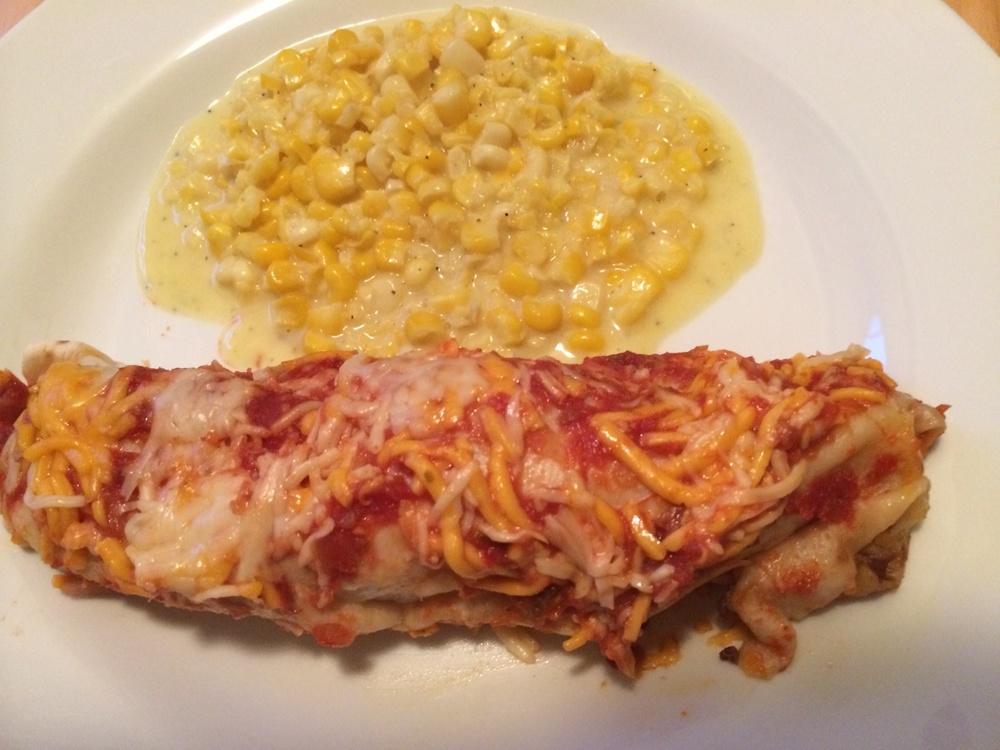 Beef & Bean Enchilada w/ Creamy Corn