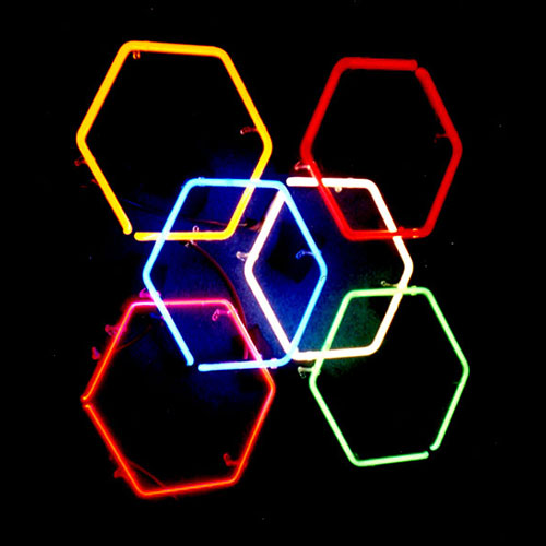Italian Glass Hexagonal Luminous Wall Sculpture!