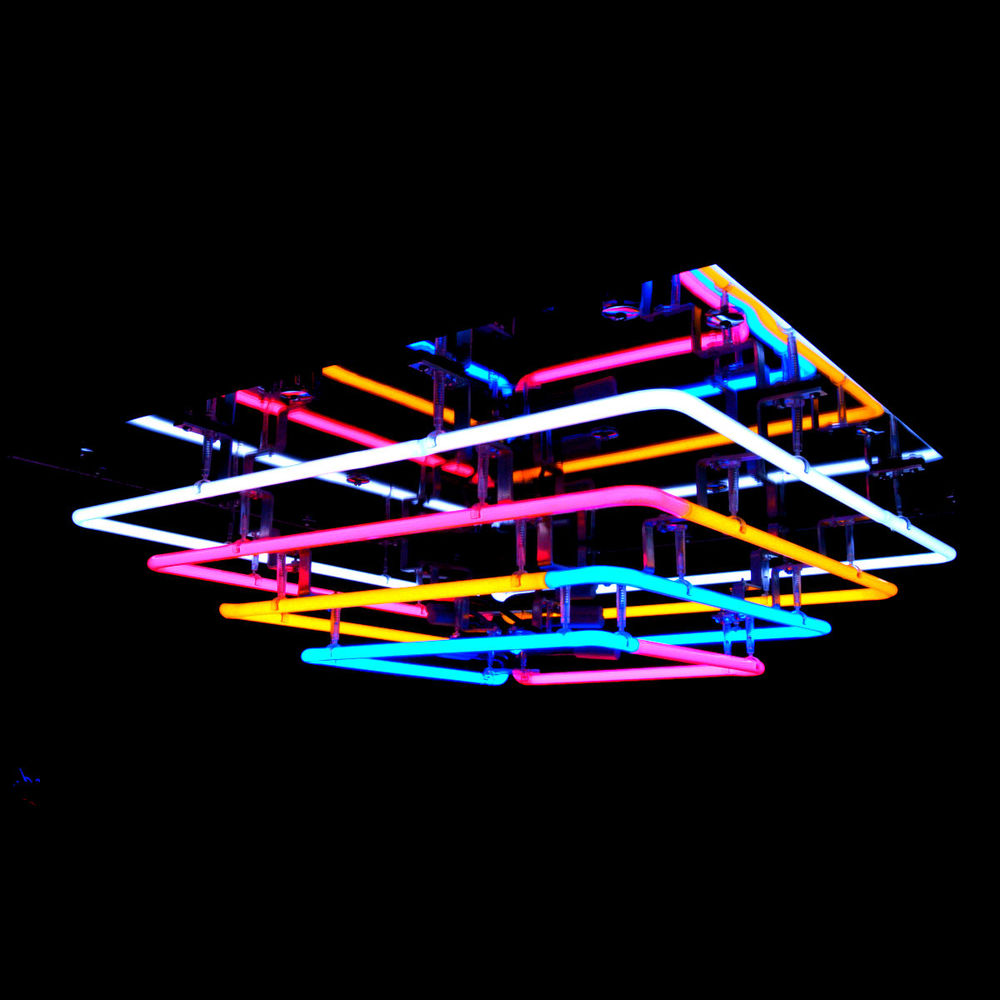 Spectacular Cascading Italian Glass Mirrored Neon Chandelier