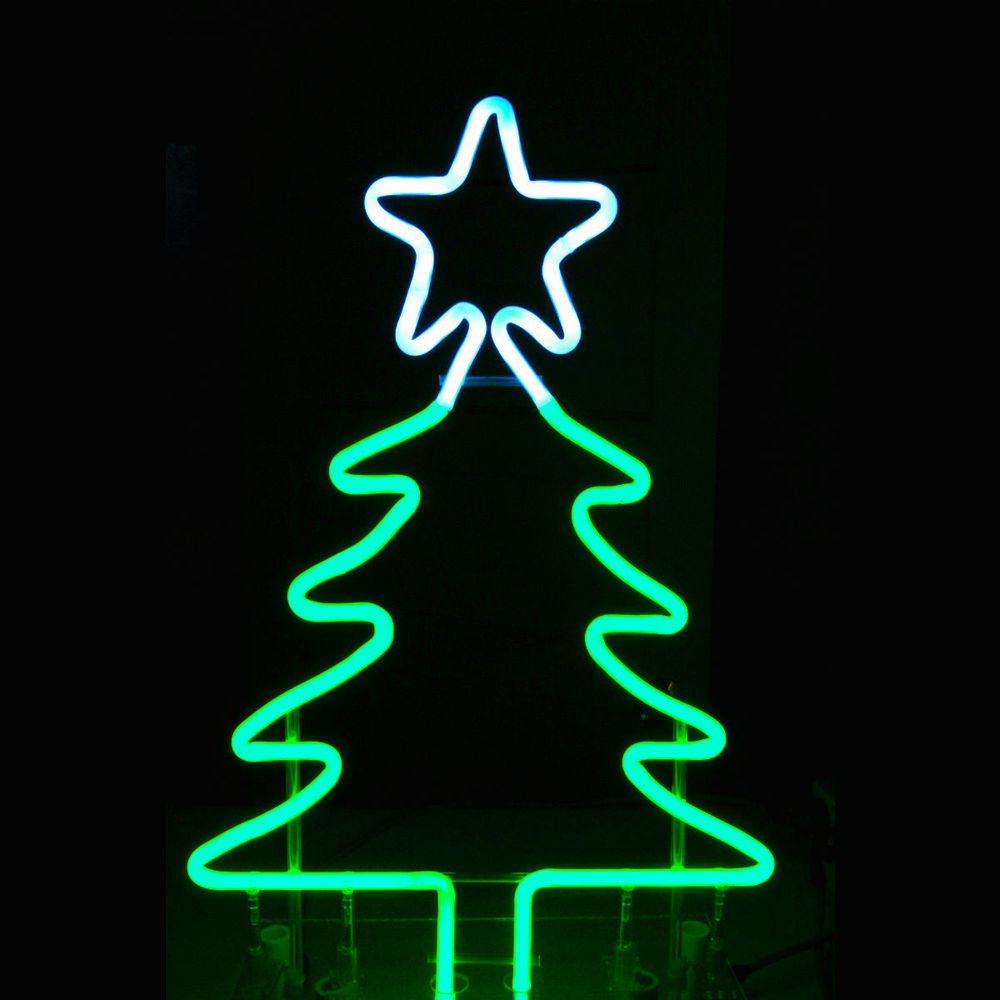 Tabletop Designer bright green neon Christmas Tree with Snow White Neon Star ..... by John C. Barton - International Neon Glass Artist