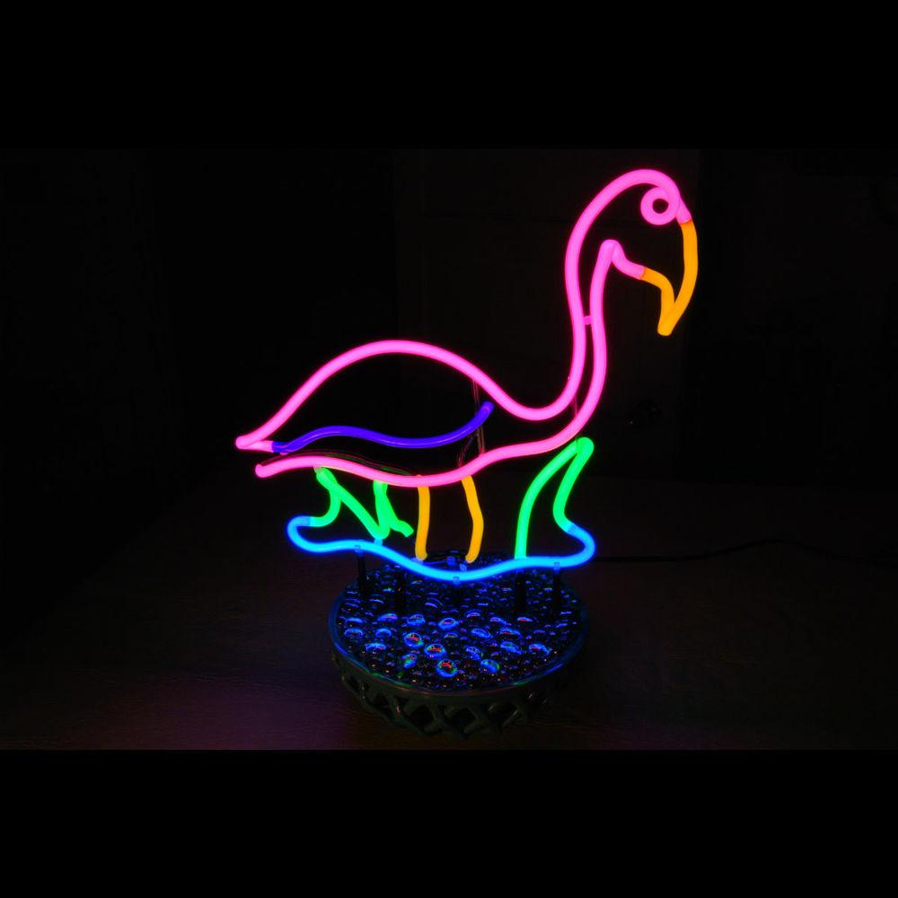 Tropical Neon Pink Flamingo Tabletop Sculpture