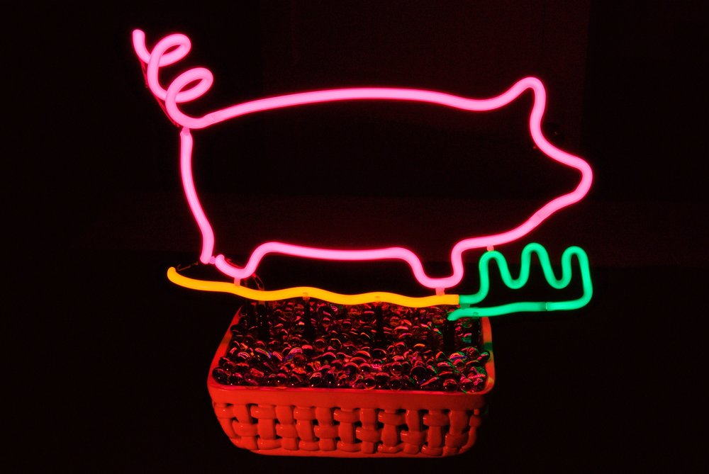 Neon Beach PIggy Tabletop Neon Sculpture Direct From Neon Artist