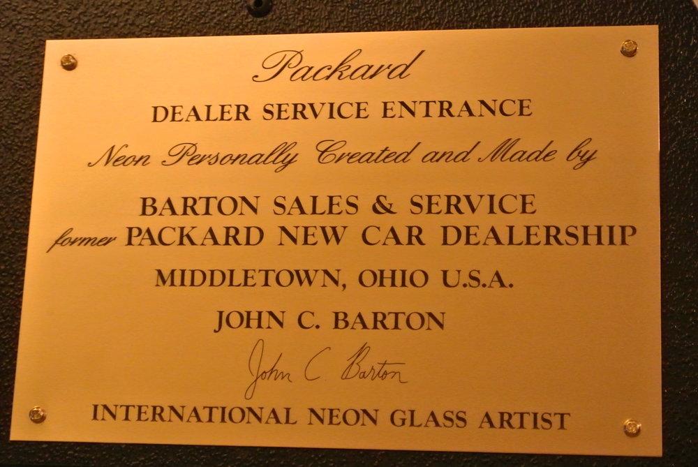 Packard SERVICE ENTRANCE Dealership Neon Sign by former Packard New Car Dealer