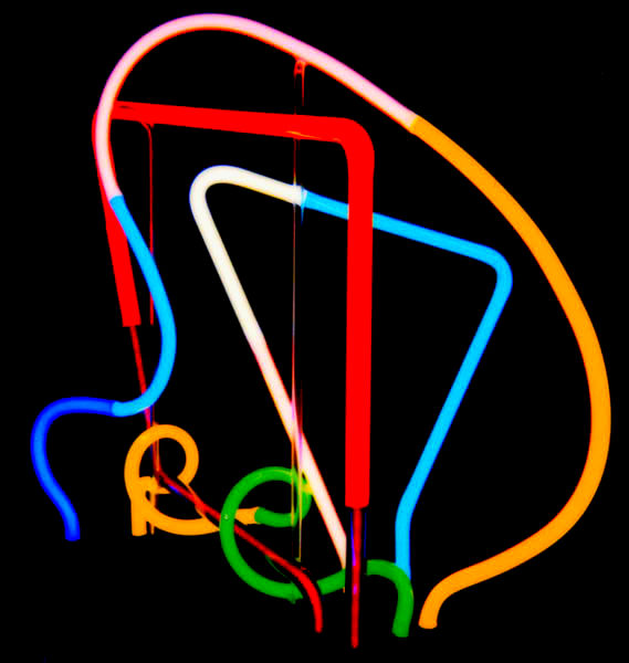 Three dimensional stained Murano Italian glass neon tabletop sculpture