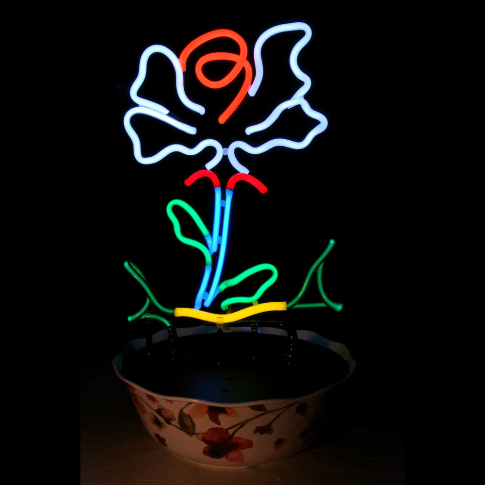 Designer Neon Tabletop Rose Sculpture in Stained Murano Italian Neon Glass by John Barton