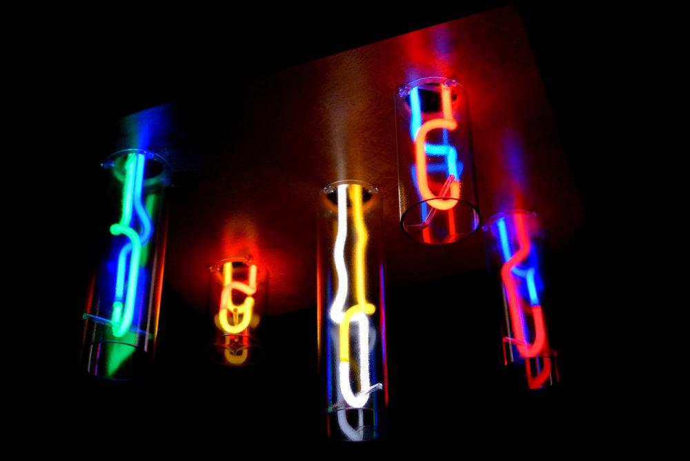 Theater and Cinema Custom Mirrored Neon Chandeliers