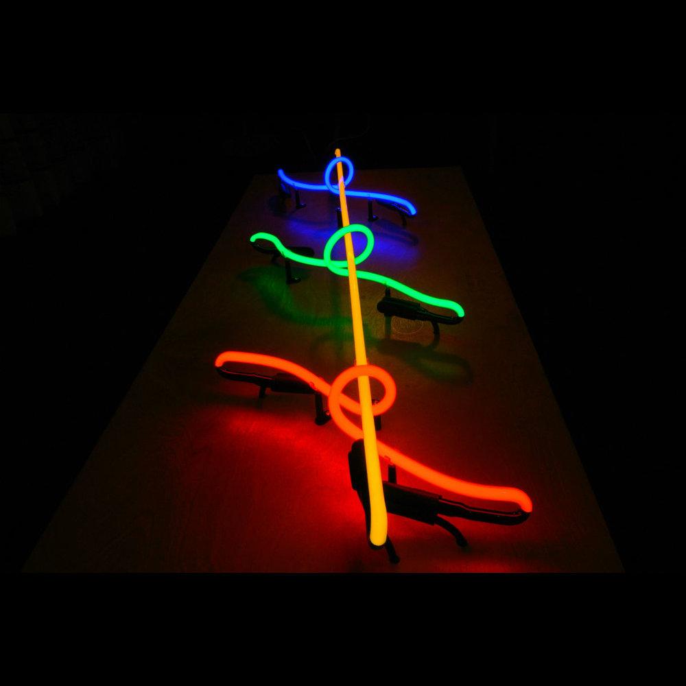Ultra-Modern Stained Italian Glass Neon Light Sculpture