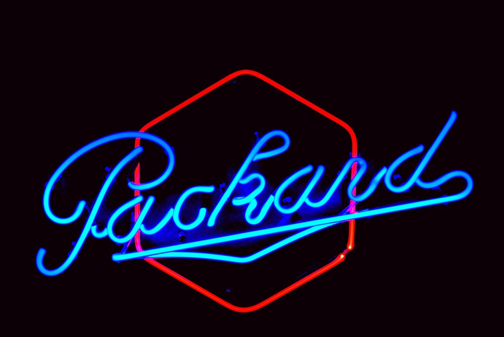 Packard Neon Dealership Showroom Sign - hand-blown and made by John Barton - former Packard New Car Dealer