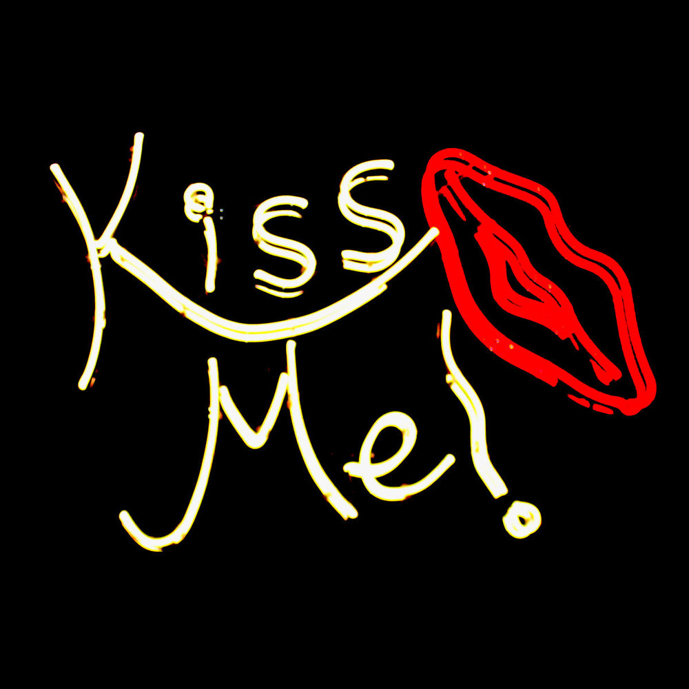 """Kiss Me!""  4 ft. Mirrored Neon Light Sculpture by John Barton - Famous American Neon Glass Artist"