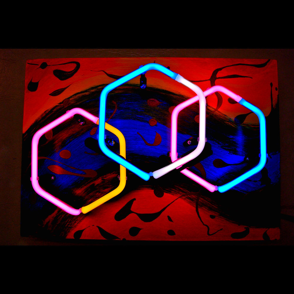 Parisian Neon Light Sculpture in Stained Murano Italian Neon Glass!