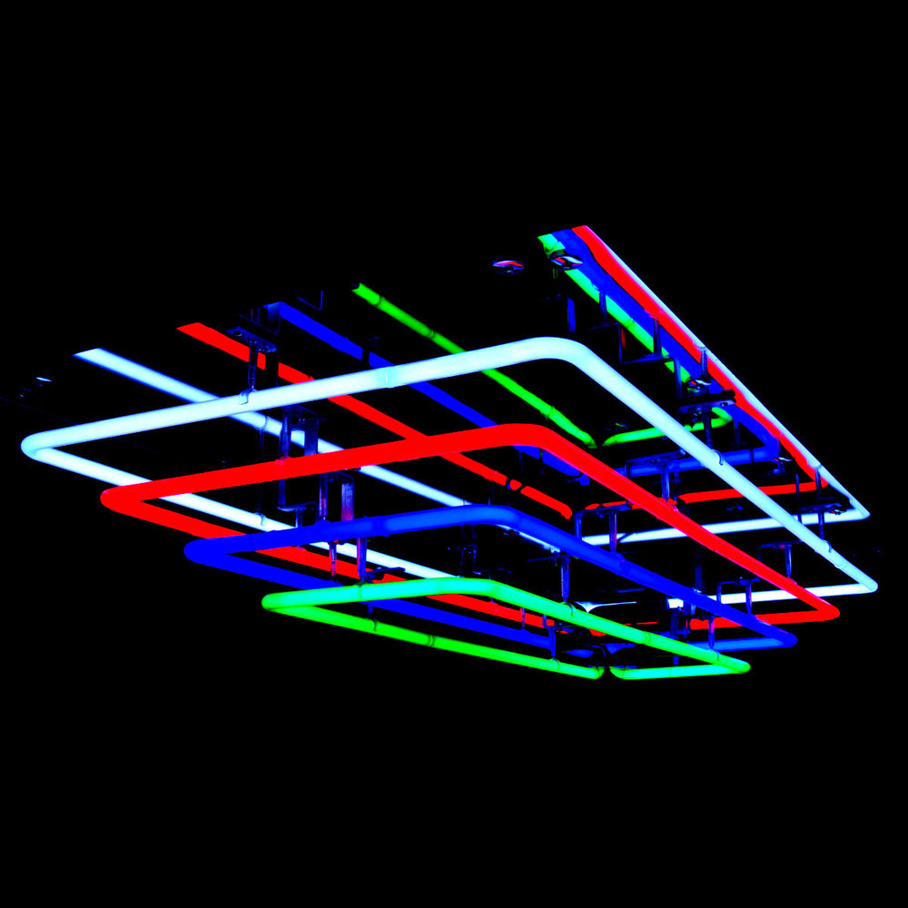Cascading Stained Italian Glass Mirrored Neon Chandelier by John Barton - International Neon Light Sculptor, USA