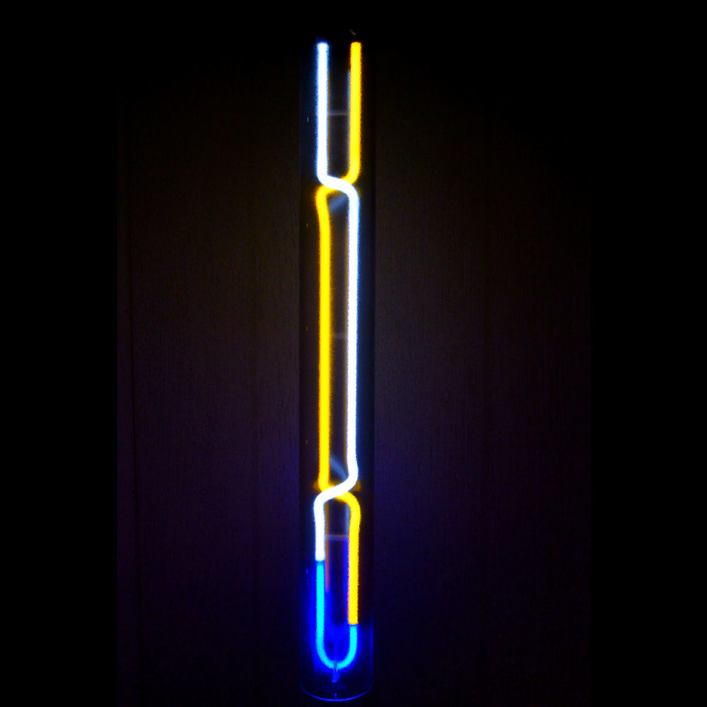 Designer Neon Light Cylinders in Stained Murano Italian Neon Glass by John Barton - Famous American Neon Light Sculptor