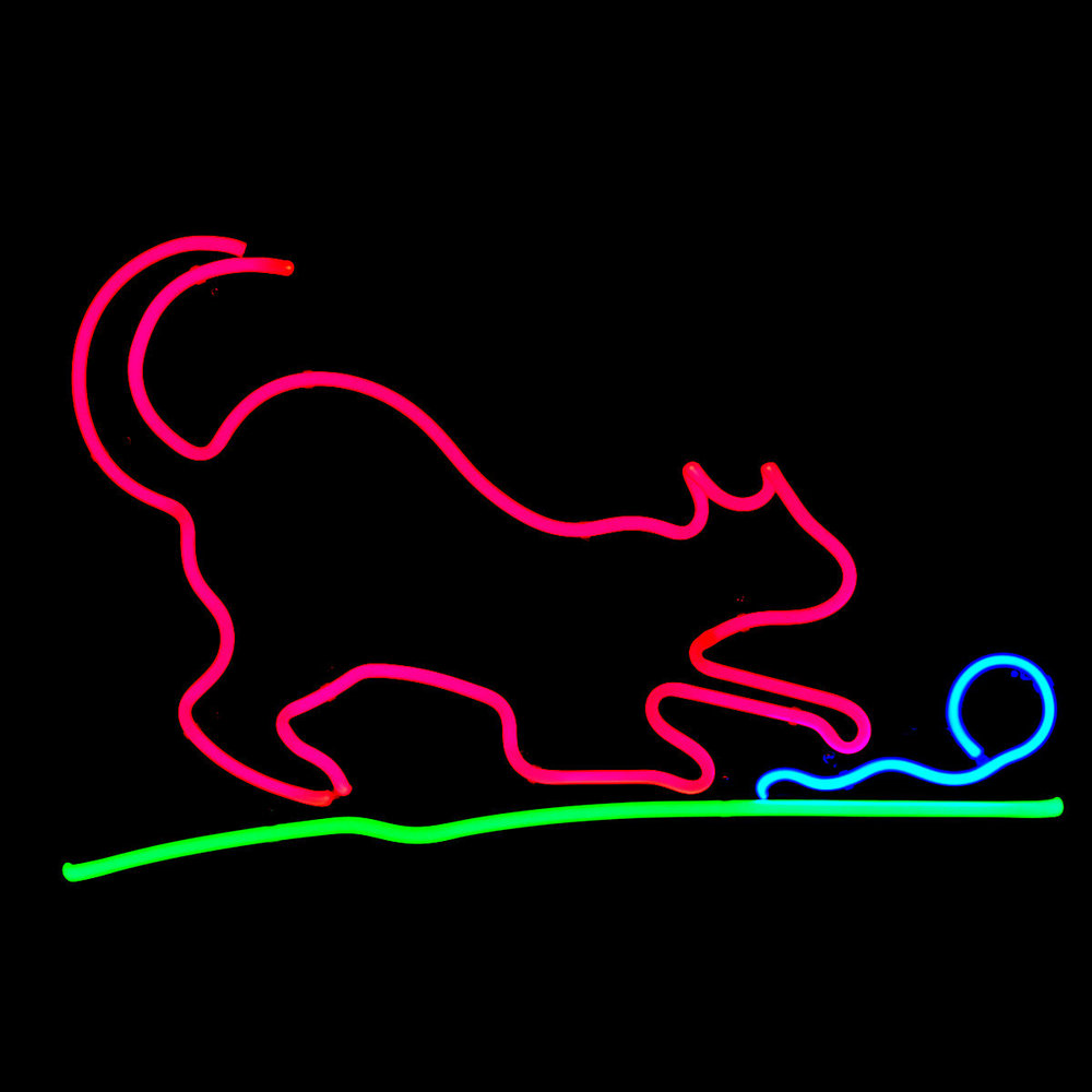 Designer Neon Cat Light Sculpture by John Barton - Famous USA Neon Glass Artist