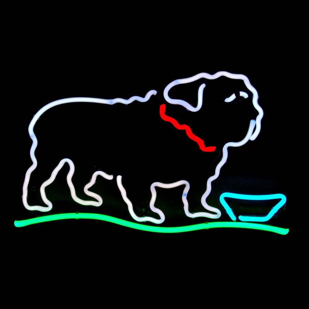Bulldog Designer Neon Light Sculpture by John Barton - BartonNeonMagic.com