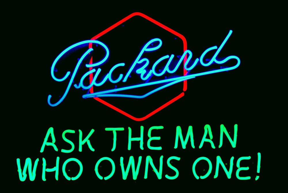 Packard Dealership Showroom Neon Sign by John Barton - former Packard New Car Dealer - BartonNeonMagic.com