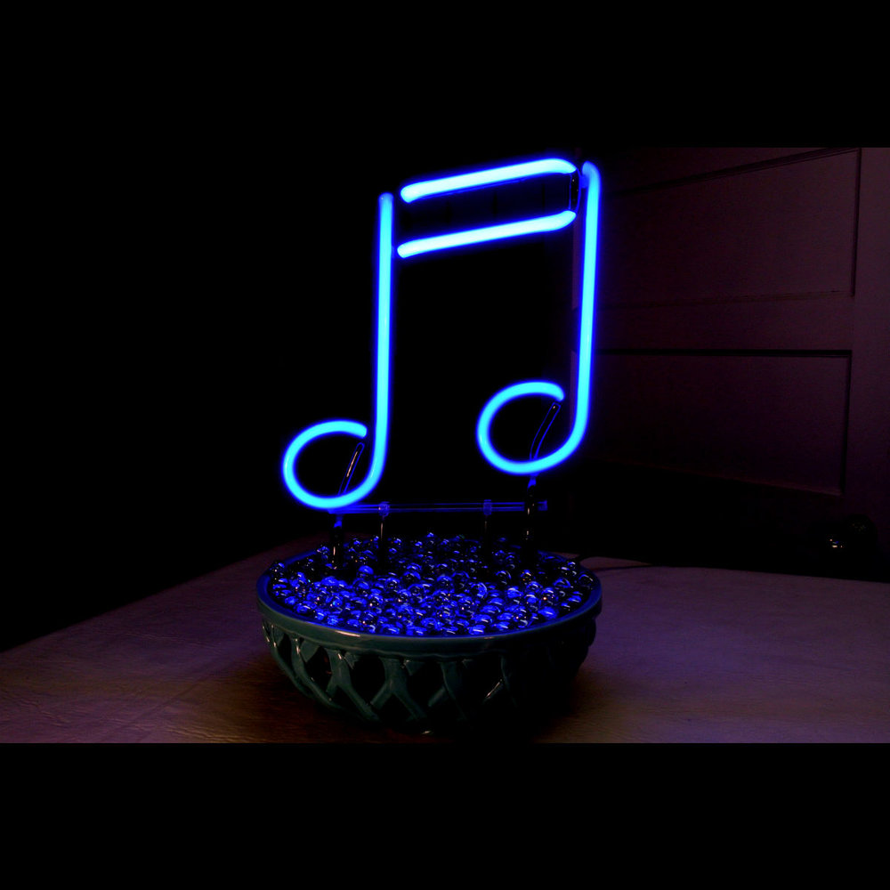 """BLUE NOTES"" Designer Neon Light Sculpture in Stained Italian Glass by John Barton - BartonNeonMagic.com"