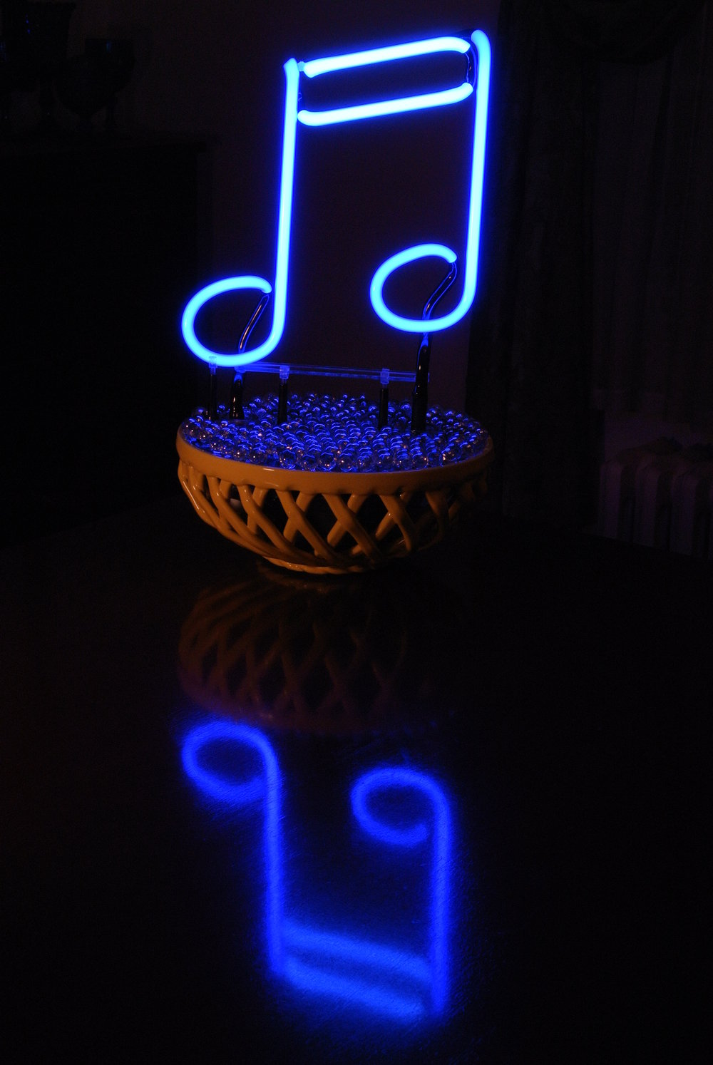 """BLUE NOTES"" Neon Light Sculpture by John Barton - BartonNeonMagic.com"