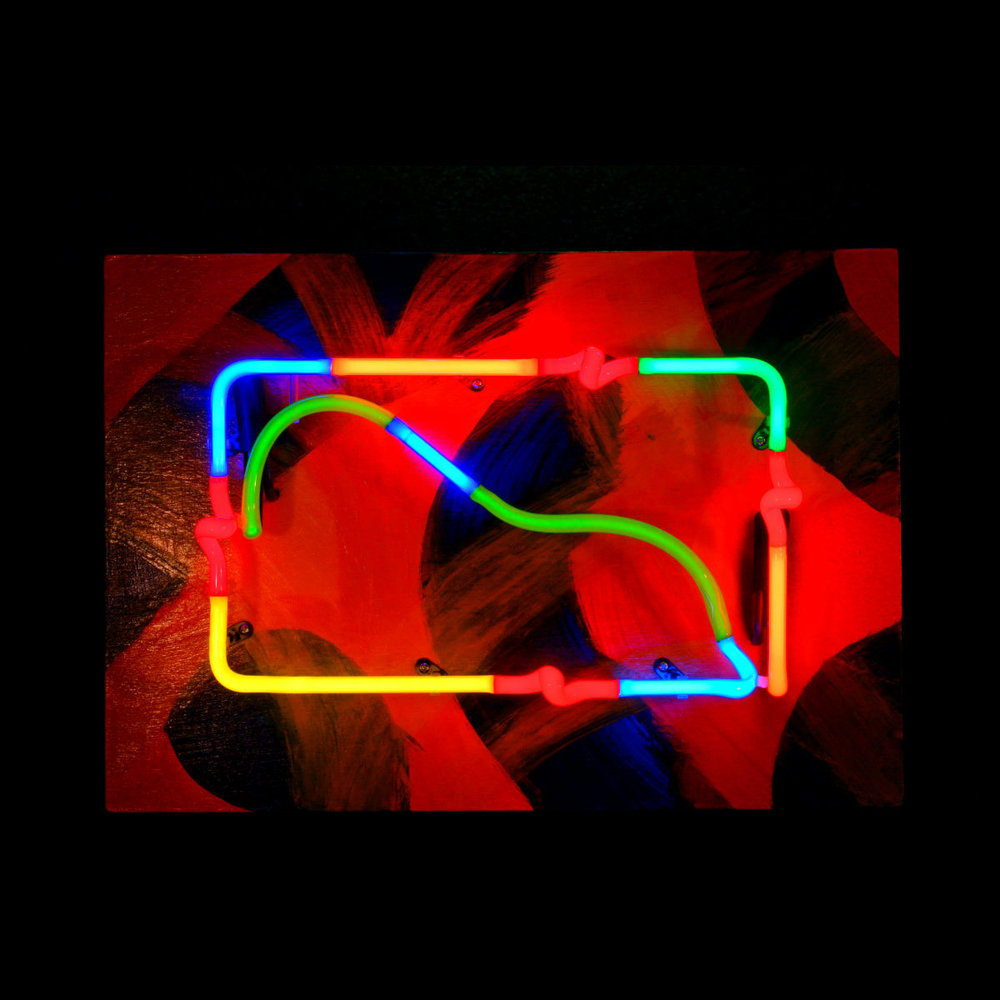 Rainforest with Red Frogs - Designer Neon Sculpture by John Barton - famous USA Neon Glass Artist - BartonNeonMagic.com