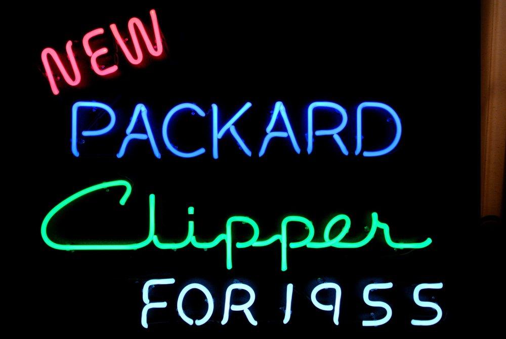 New Packard Clipper for 1955 - Packard Dealer Neon Sign by John Barton - former Packard New Car Dealer - BartonNeonMagic.com