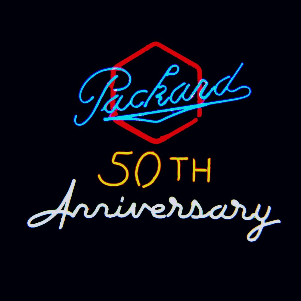 Packard Golden Anniversary Neon Sign by John Barton - former Packard New Car Dealer - BartonNeonMagic.com