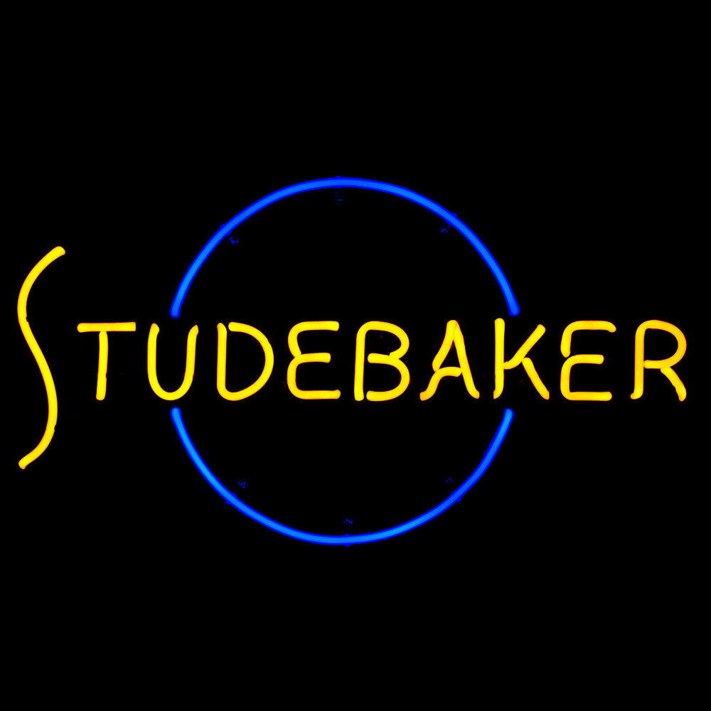 Studebaker Dealership Showroom Neon Sign by John Barton - former Studebaker Packard New Car Dealer - BartonNeonMagic.com