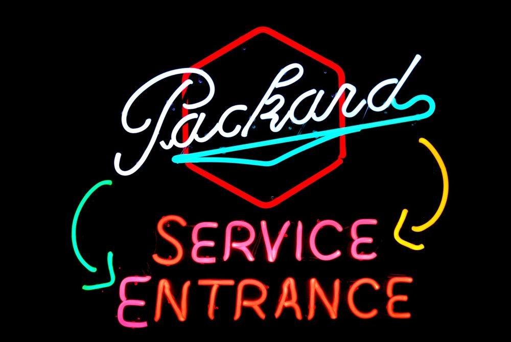 Packard Service Entrance Dealership Showroom Neon Sign by John Barton - former Packard New Car Dealer - BartonNeonMagic.com