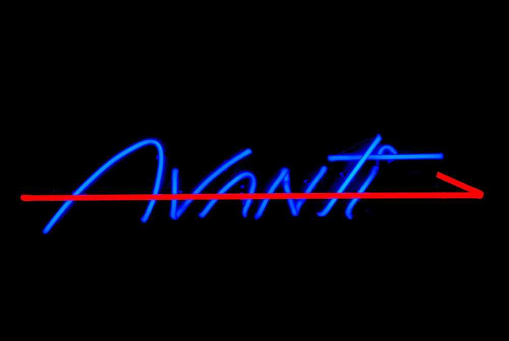 Avanti Stained Italian Glass Neon Sign by John Barton - BartonNeonMagic.com