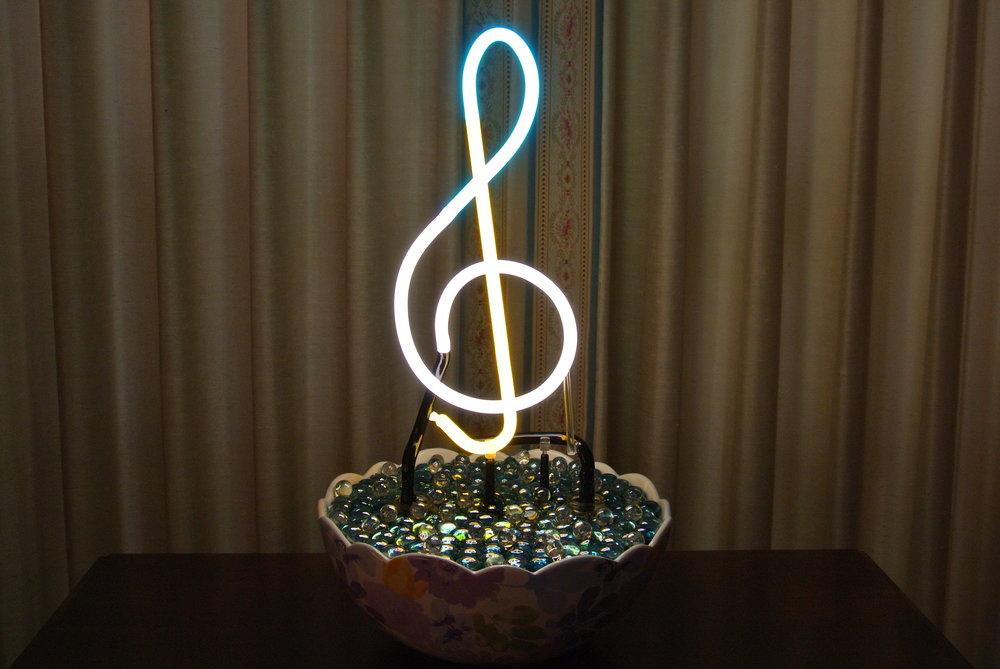 Treble Cleft Musical Tabletop Neon Sculpture by John Barton - Famous USA Neon Glass Artist - BartonNeonMagic.com
